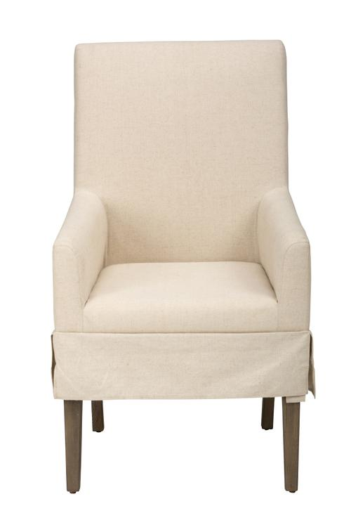 Benzara Fabric Upholstered Wooden Dining Chair with Armrests