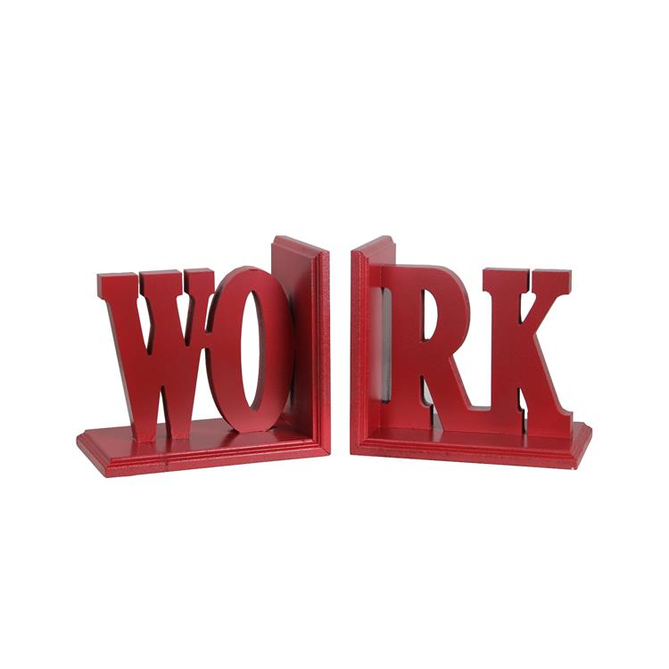 Benzara Contemporary WORK Word Wooden Bookends With Cut Out Accents, Red