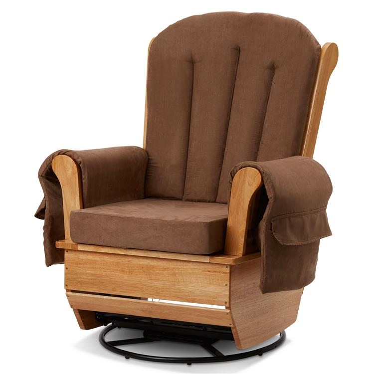 Benzara Transitional Fabric Upholstered Wooden Glider and Rocker Chair, Brown