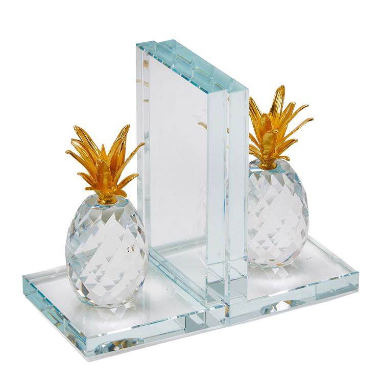 Benzara Glass Made Crystal Pineapple Bookend, Pair of 2, Gold and Clear