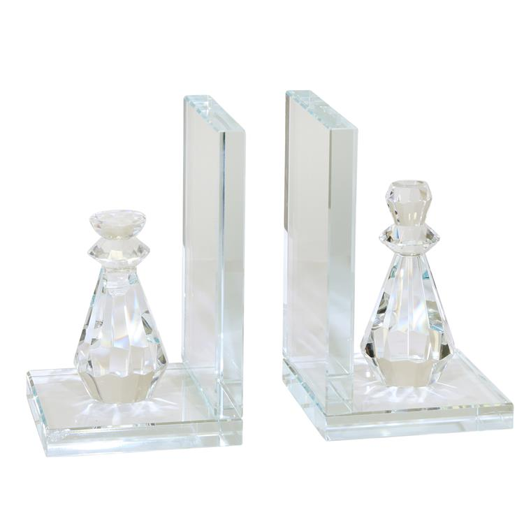Benzara Glass Made Chess Piece Bookend, Pair of 2, Clear