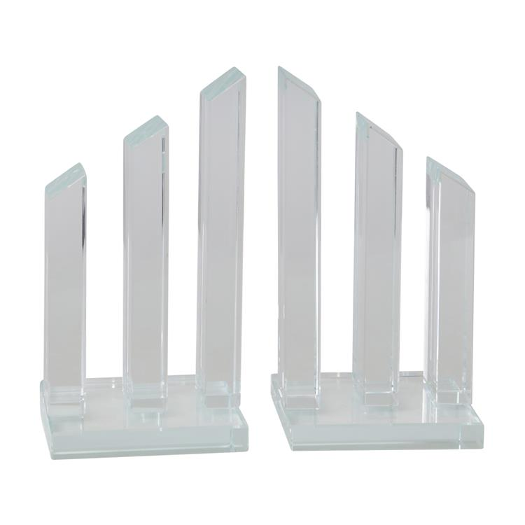 Benzara Glass Made Pillar Statuette Bookend, Pair of 2, Clear