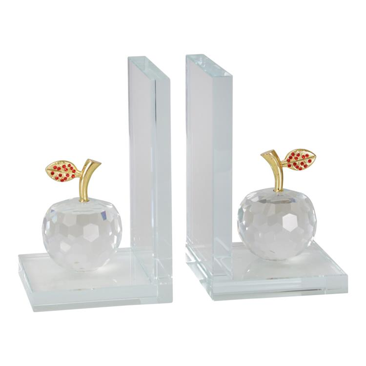 Benzara Glass Made Apple Statuette Bookend, Pair of 2, Clear and Gold