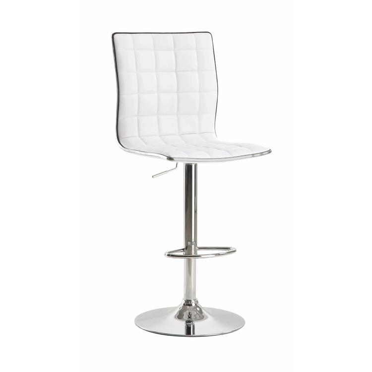 Benzara Waffle Adjustable Swivel Bar Stool, White ,Set of 2 [Item # BM69404]