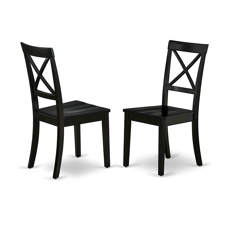East West Furniture BOC-BLK-W Boston Chair Wood Seat in Black Finish