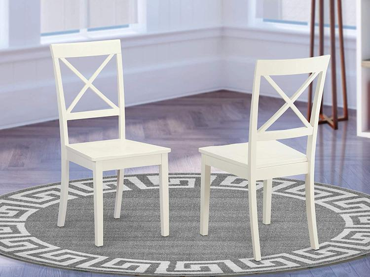 East West Furniture Boston X- back  Chair for dining room with  Wood Seat