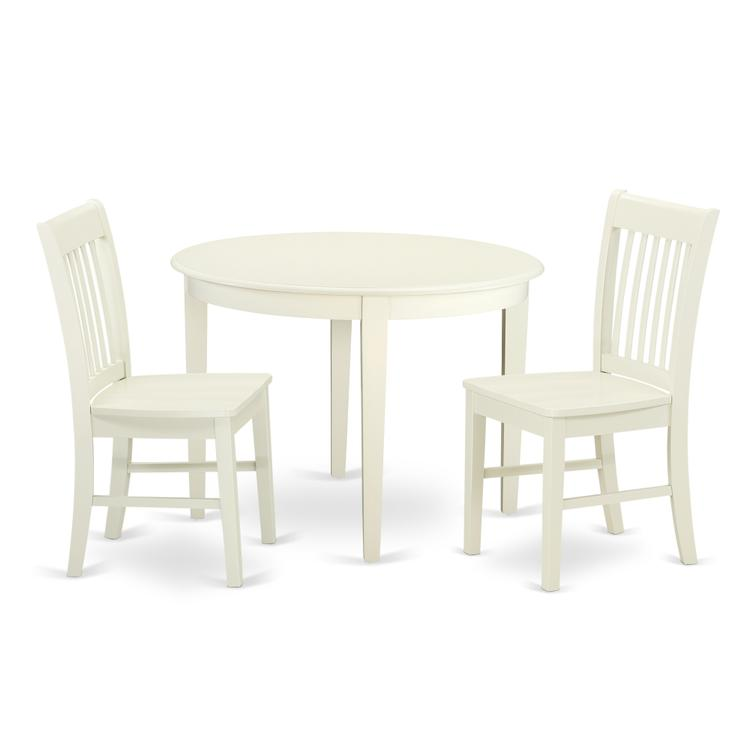 East West Furniture BONO3-WHI-W 3 Pc Kitchen table set with a Dining Table  and 2 Faux Leather Kitchen Chairs in Linen White, Wood Seat, Linen White,  ...