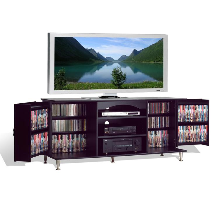Premier Large Black Flat Panel Plasma / LCD TV Console with Media Storage [Item # BPS-6000-K]