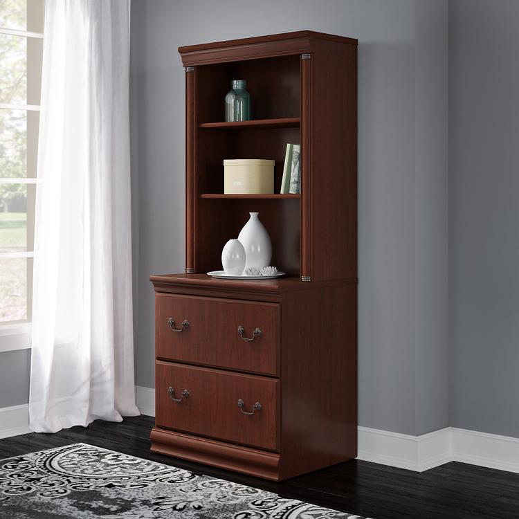 Bush Furniture Birmingham Lateral File Cabinet with Hutch