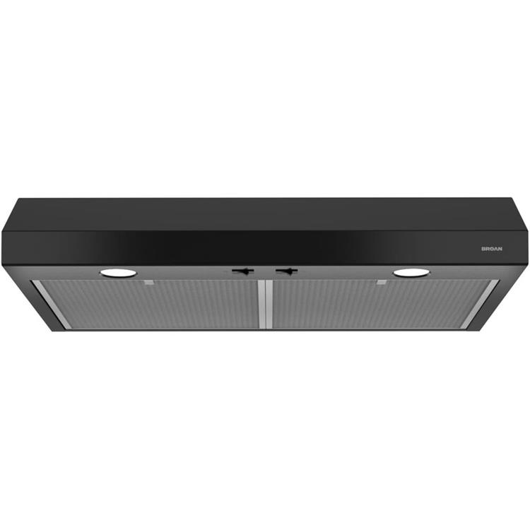 Broan Glacier 30-Inch 250 CFM Black Range Hood With Light