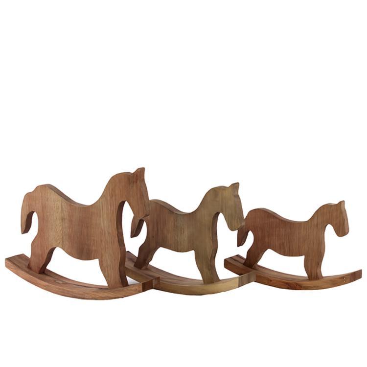 Benzara Classy Wooden Rocking Horse Set Of Three