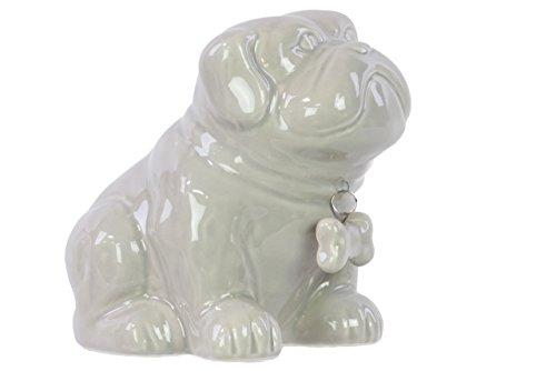 Ceramic Sitting Bulldog Puppy Coin Bank With Bone Pendant On Dog Collar Gloss Gray