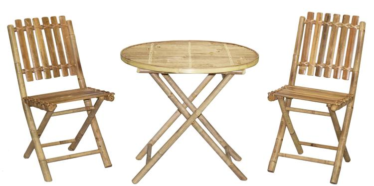 Armless Chair And Round Table Set