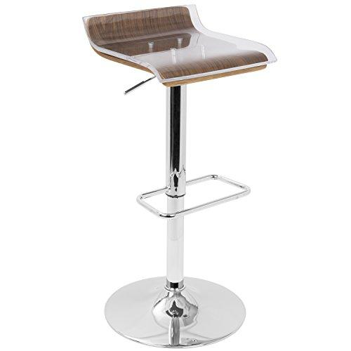 2-Tier Contemporary Barstool with Swivel in Walnut and Clear by LumiSource