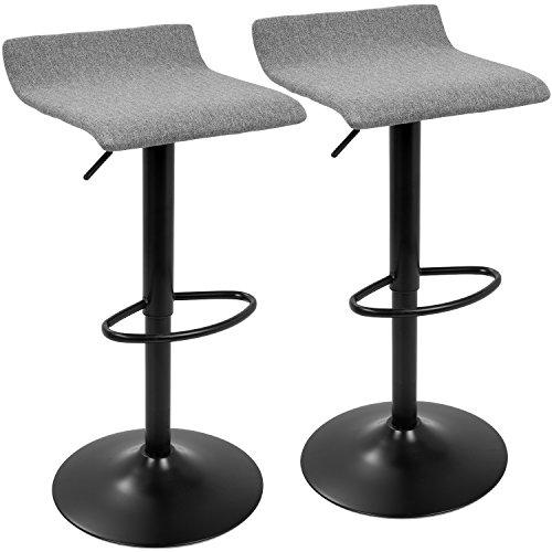 Ale XL Contemporary Adjustable Barstool in Black and Grey by LumiSource- Set of 2