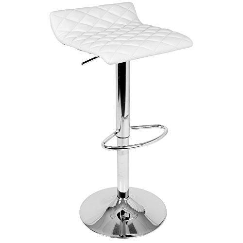 Cavale Contemporary Adjustable Barstool in White by LumiSource
