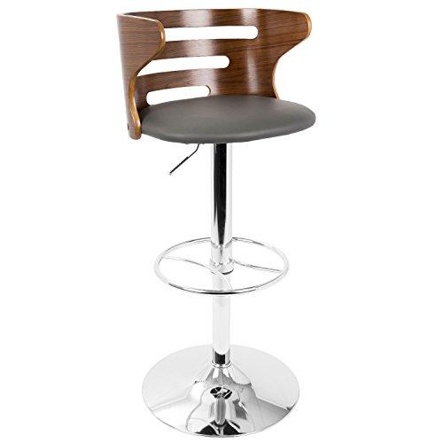 Cosi Mid-Century Modern Adjustable Barstool in Walnut and Grey with Swivel by LumiSource