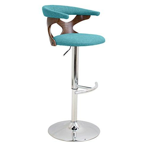 Gardenia Height Adjustable Mid-century Modern Barstool with Swivel in Walnut and Teal by LumiSource