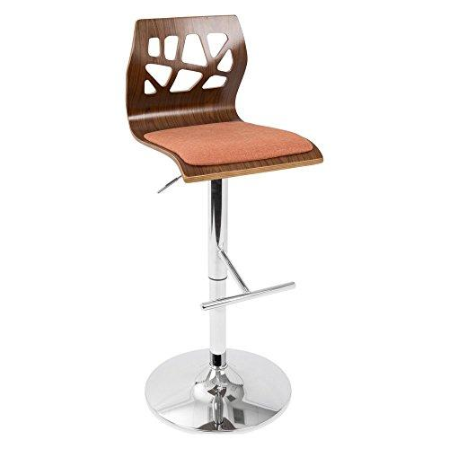 Folia Mid-Century Modern Height Adjustable Barstool In Walnut And Cream With Swivel By Lumisource