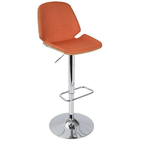 Serena Mid-Century Modern Barstool in  Orange Fabric and Walnut Wood by LumiSource