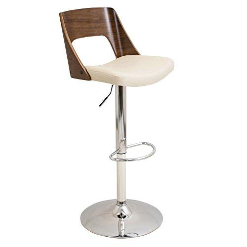 Valencia Height Adjustable Mid-century Modern Barstool with Swivel in Walnut and Cream by LumiSource