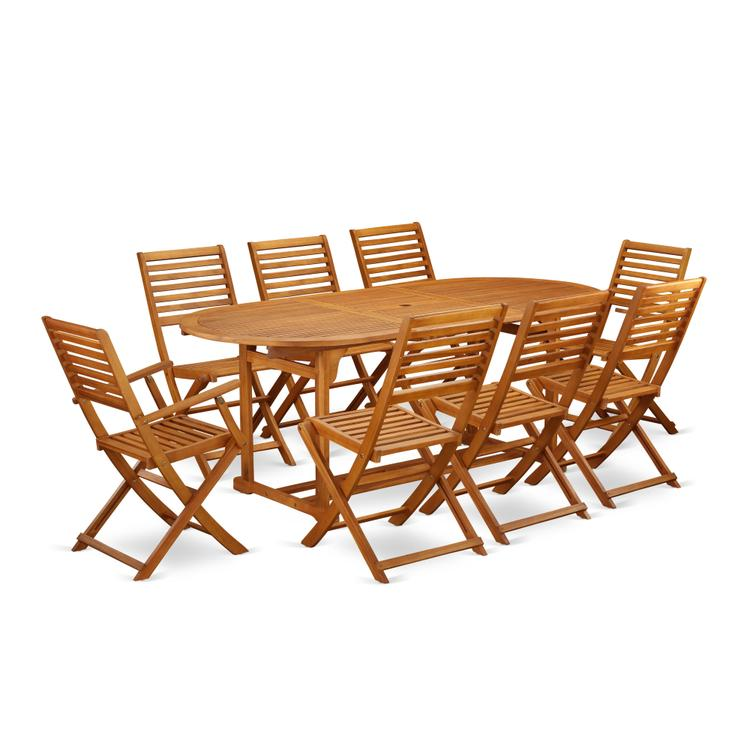 East West Furniture BSBS92CANA This 9 Piece Acacia Solid wood Patio area Dining Sets provides you one particular outdoor table and 6 foldable chairs plus Two arm chairs [Item # BSBS92CANA]