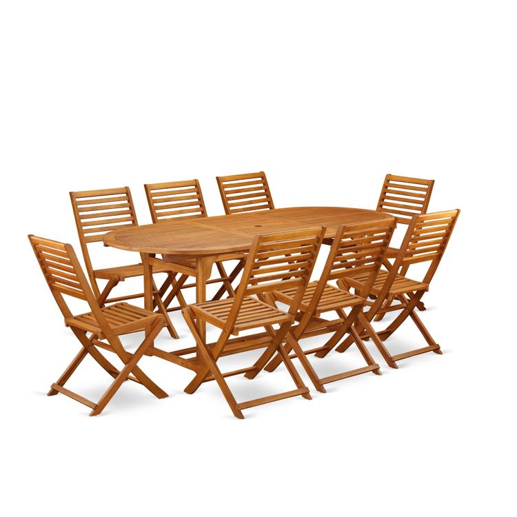 East West Furniture BSBS9CWNA This 9 Pc Acacia Hardwood Patio area Dining Sets provides you one outdoor table and 8 patio dining chairs