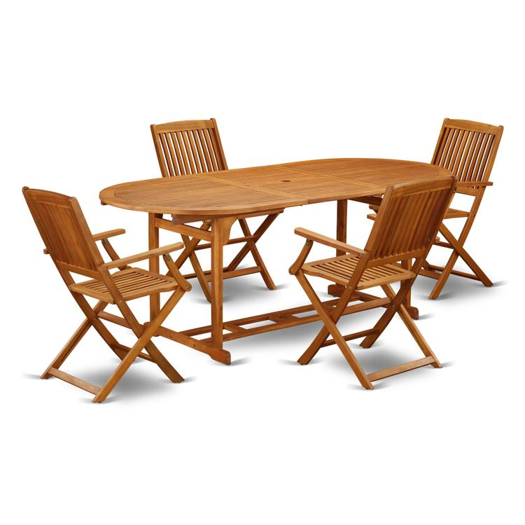 East West Furniture BSCM5CANA This 5 Pc Acacia Backyard Sets provides you one outdoor table and four patio dining chairs [Item # BSCM5CANA]