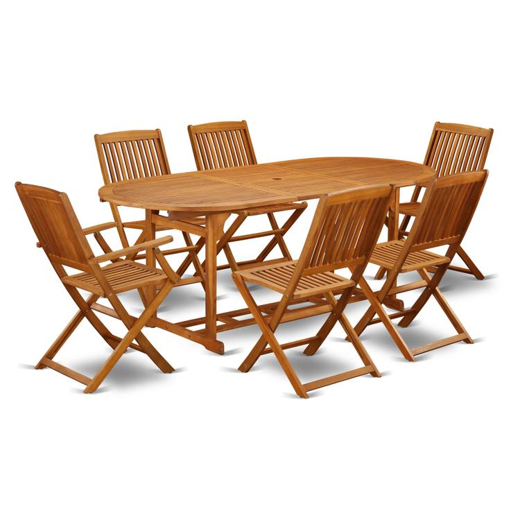 East West Furniture BSCM72CANA This 7 Piece Acacia Hardwood Patio area Dining Sets includes one outdoor table and 4 side patio dining chairs and Two arm chairs