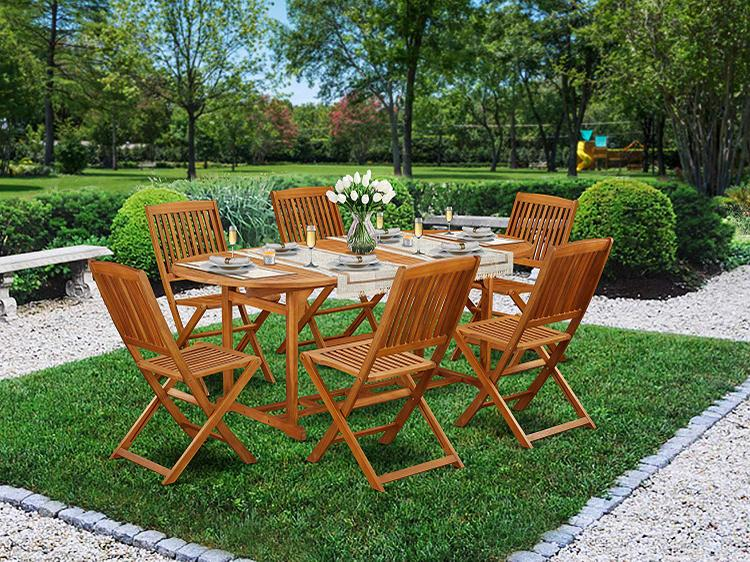 East West Furniture BSCM7CANA This 7 Pc Acacia Hardwood Balcony Dining Sets provides you a single outdoor table and 6 patio dining chairs