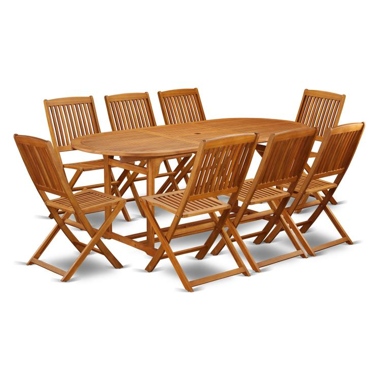 East West Furniture BSCM9CWNA This 9 Pc Acacia Outside patio Dining Sets includes a single outdoor table and Eight foldable outdoor chairs