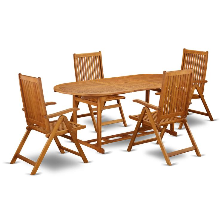 East West Furniture BSCN5NC5N This 5 Pc Acacia Wooden Patio Dining Sets includes one particular outdoor table and 4 chairs