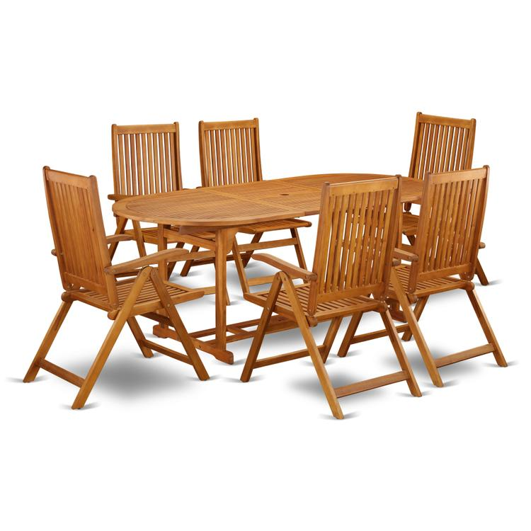 East West Furniture BSCN7NC5N This 7 Piece Acacia Wood Outdoor patio Dining Sets includes one outdoor table and Six foldable outdoor chairs