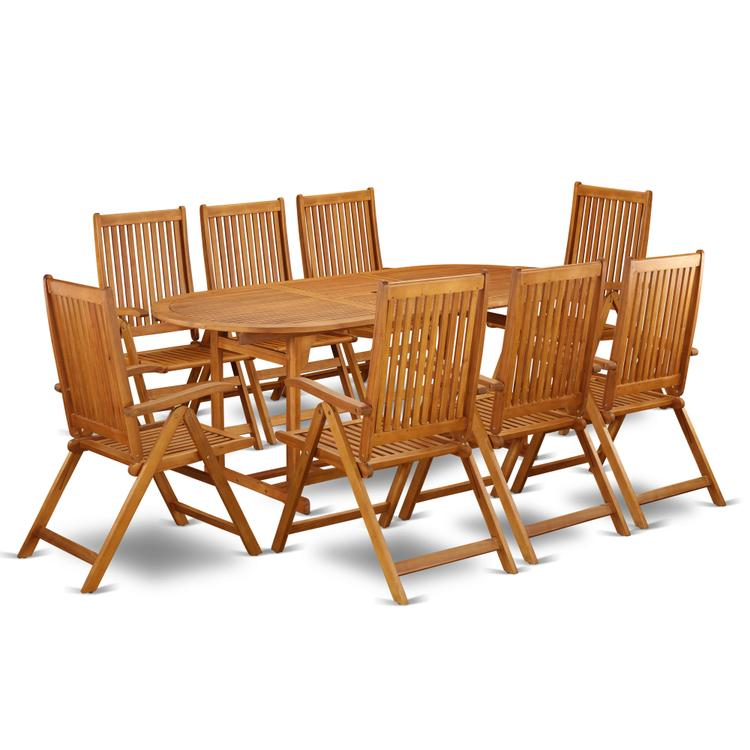 East West Furniture BSCN9NC5N This 9 Piece Acacia Solid wood Backyard Sets offers one outdoor table and Eight foldable outdoor chairs