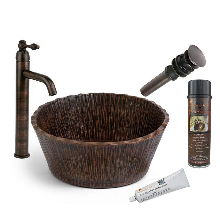 Premier Copper Products - BSP1_PVRTRDB Vessel Sink, Faucet and Accessories Package
