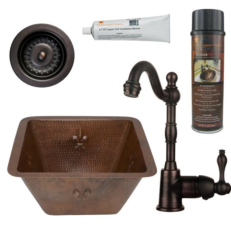 Premier Copper Products - BSP4_BS15FDB3-D Bar/Prep Sink, Faucet and Accessories Package