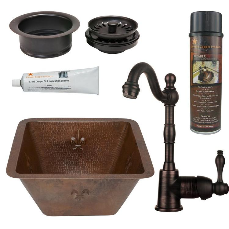 Premier Copper Products - BSP4_BS15FDB3-G Bar/Prep Sink, Faucet and Accessories Package