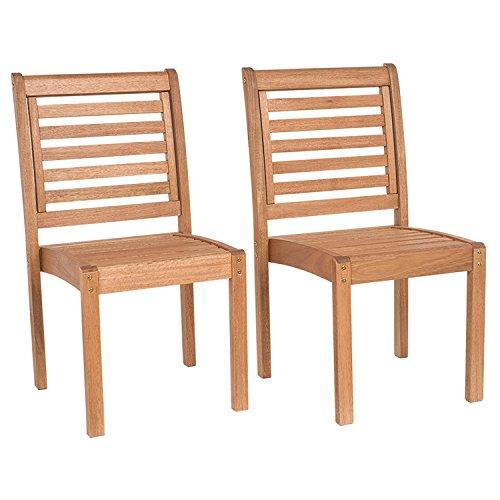 Eucalyptus Stackable Patio Chair Set without Arms