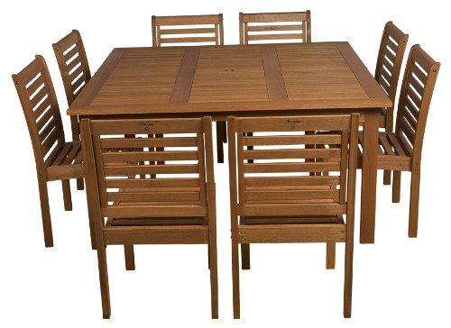 Amazonia 9-Piece Eucalyptus Armless Square Dining Set