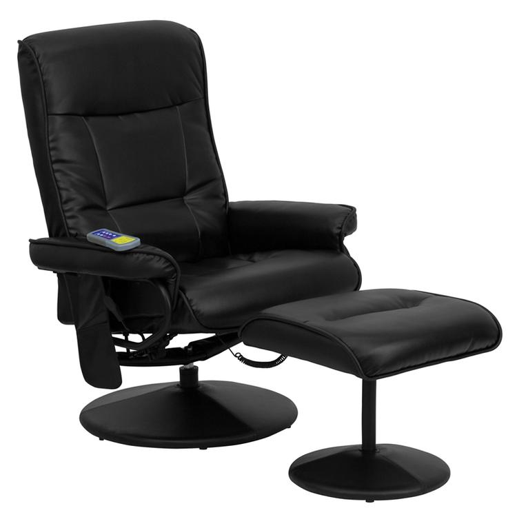Flash Furniture Massaging Leather Recliner And Ottoman With Leather Wrapped Base