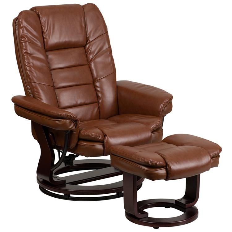Contemporary Leather Recliner And Ottoman With Swiveling Base