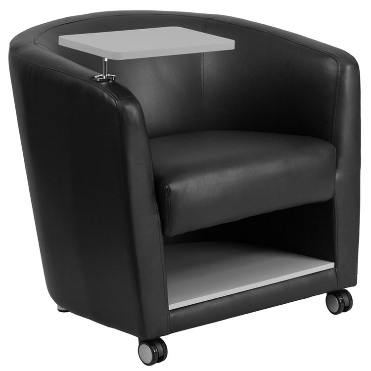 Guest Chair With Tablet Arm, Front Wheel Casters And Under Seat Storage
