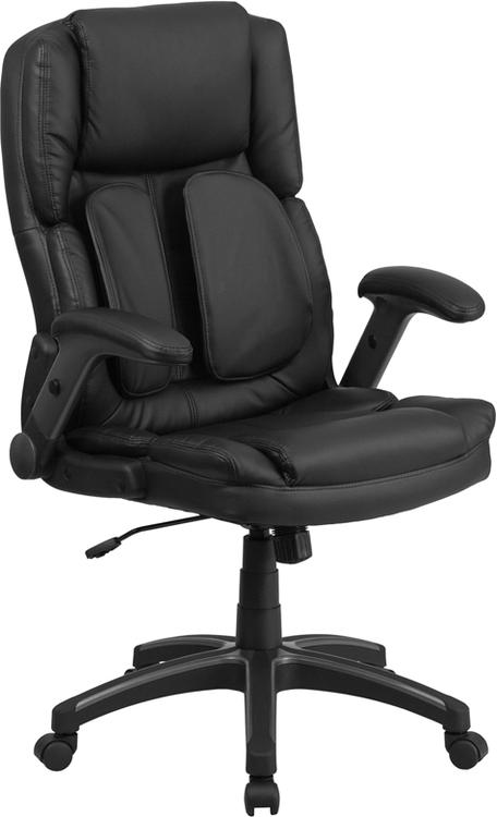 Extreme Comfort High Back Leather Executive Swivel Chair With Flip-Up Arms