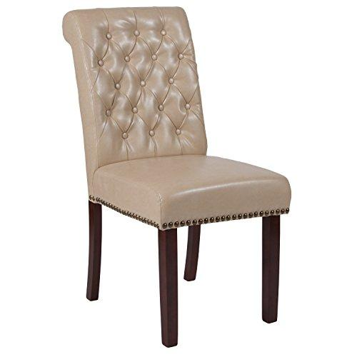 Flash Furniture HERCULES Series Beige Leather Parsons Chair with Rolled Back, Nail Head Trim and Walnut Finish