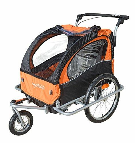 2-in-1 Double Bike Trailer and Jogger in Orange/Black