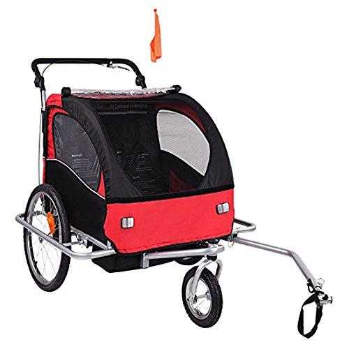 2-in-1 Double Bike Trailer and Jogger in Red/Black