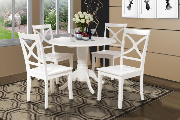 Burlington 5 Piece Small Kitchen Table Set-Kitchen Table And 4 Dining  Chairs, White, Round