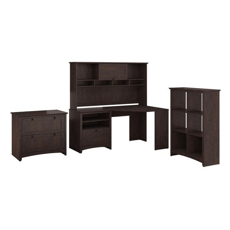 Corner Desk Hutch 6 Cube Storage Lateral File