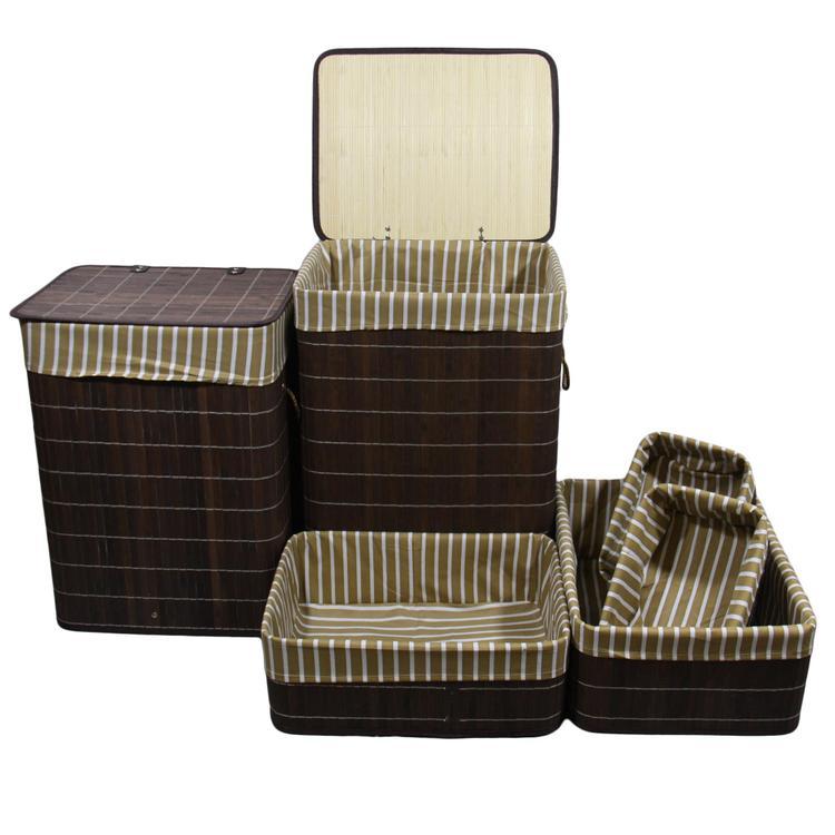 Square Folding Bamboo Laundry Basket And Tray Set