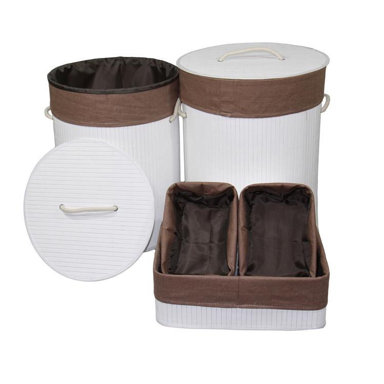 ORE International Round Folding Bamboo Laundry Basket And Tray Set